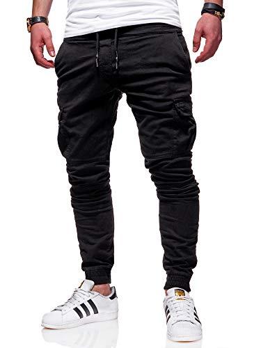 behype. Herren Cargo Chino-Hose Jogger Jeans-Hose 80-8393 Schwarz W30