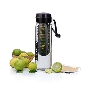 Steelo Plastic Fruit Infuser Bottle, 700ml, Black