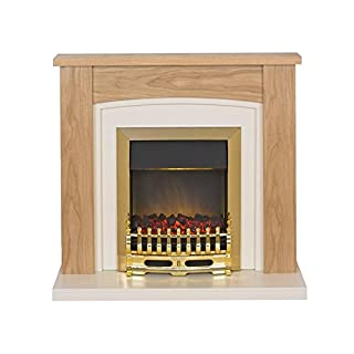 Adam Chilton Electric Fireplace Suite Oak and Ivory with Brass Electric Fire, 2000 Watt