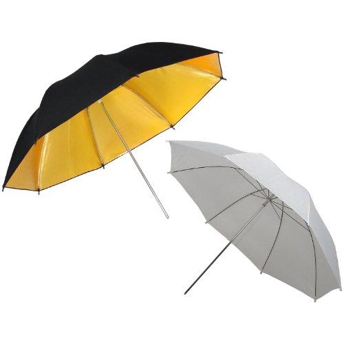 DynaSun Kit UR02W Blanc + UR02GB Or Noire 109cm kit 2x Parapluie Professionnel Diffuseur Translucide Réflecteur 109 cm pour Studio Photo Vidéo