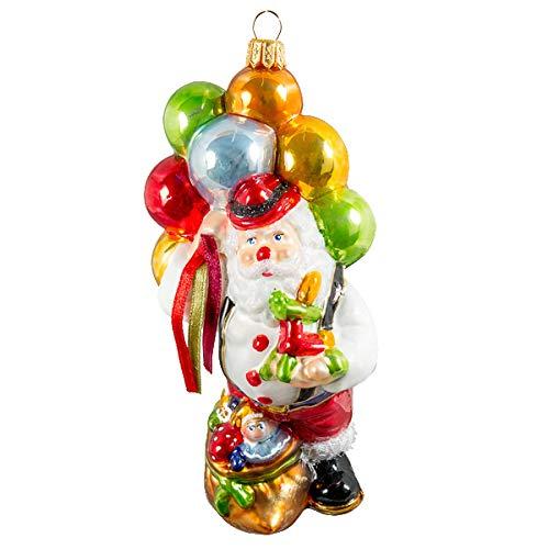gerda-huesch.de Christbaumkugel, Bunter Clown-Santa mit Luftballons, 7 x 14 cm