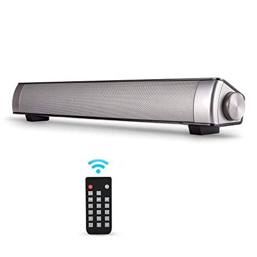 Soundbar, Bluetooth-Soundbar-TV-Lautsprecher, verkabelte und kabellose Lautsprecher, Surround-Sound, für PC, Handy, TV, Tablet, unterstützt RCA, AUX, Bluetooth, mit Fernbedienung grau
