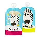 Zebra & Me Z/C wiederverwendbar Quetschbeutel–Zebra Cook/Zebra (2Pack 150ml/5oz)–Ideal für Gesundes Lebensmittel unterwegs, doppelt Ziploc, breiter Öffnung für einfaches Befüllen und Reinigen