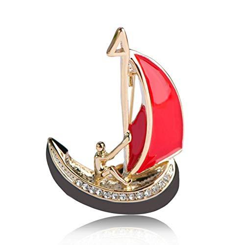 CCJIAC Rote Emaille Schiff Broschen Hemdkragen Clip Sailing Club Abzeichen Hijab Pins Dekoration Männer Abbildung Boot Segel Form Brosche (Mann Ohne Abzeichen)