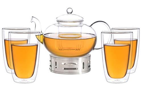 Aricola Teeset Melina 1,8 Liter. Glas-Teekanne 1,8 Liter mit Glassieb, 4 doppelwandige Teegläser 360ml und Edelstahlstövchen