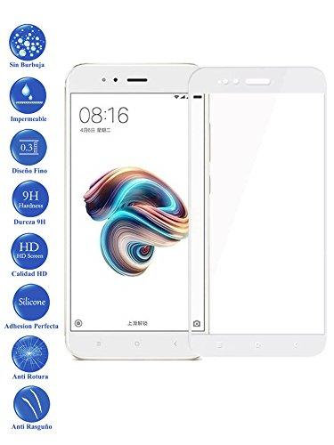Todotumovil Protector de Pantalla Cristal Templado Completo para Xiaomi MI A1 y 5X Blanco