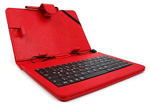 Rote Schutzhülle Etui Tasche Case aus Premium Lederimitat mit integrierter Tastatur / Keyboard für Odys Rapid 7 Black Edition | Wintab 8 | Wintab GEN 8 | WINKID 8 Windows | Maven 7+ Black Edition | Vito Tablets - DEUTSCHE Belegung