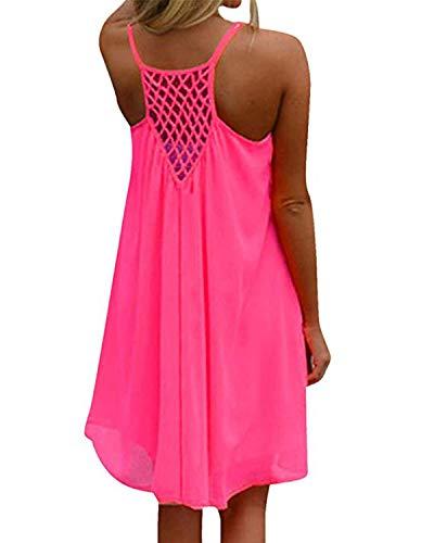 kenoce Damen Sommerkleid Badeanzug Strandkleid Chiffon Bikini Cover Up Boho Halter Ärmellos Lose Sommerkleid Rosa S -
