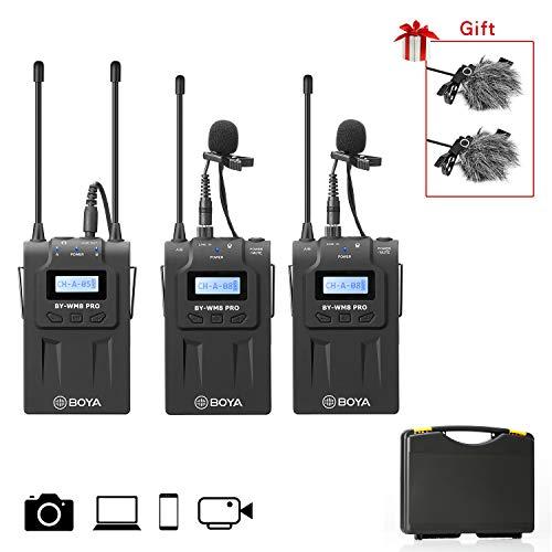 BOYA Sistema microfono lavalier wireless UHF con trasmettitore e ricevitore wireless per fotocamera Canon DSLR Canon Nikon, videocamera XLR, iPhone per inteview, registrazione video, vlogging