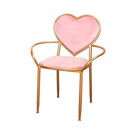 AODISHA Rosa Herz Stuhl, Kreative Sessel Eisen Kunst Esszimmer Stuhl Balkon Lounge Stuhl Golden Dressing Tisch Stuhl Einfache Schlafzimmer Dekorative Stuhl 83 cm -Gib Mehr Komfort für Das Leben (Bar Hocker Schlafzimmer Esszimmer)