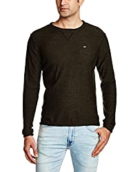 Lee Mens Synthetic Sweater (8907222303921_LESW1759_Large_Olive and Black)