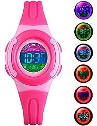 BHGWR Montres filles, Montre numérique imperméable d'enfants avec le chronomètre/alarme/EL, Digital Montres bracelet pour fille de poignet de sport de LED pour enfants - Rose