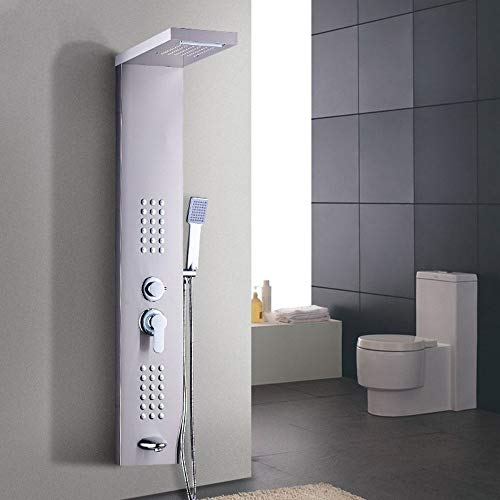 Senior Hotel Thermostatic Shower Column Wall Mounted Rain Waterfall Shower Panel Mixers Rotate Body Massage Jets Shower System Shower Faucets
