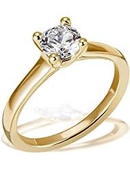 Goldmaid Damen-Ring Solitär 4er Stotzen Verlobung, Trauung, 750 Gelbgold 1 Brillant SI1/H 1,00 ct. Inkl. externer Expertise  So R6737GG