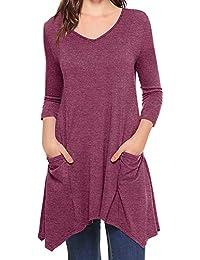 Blusa de Mujer Color Sólido Manga Larga Redonda Pull-Over Tops Camisa con Bolsillo ❤