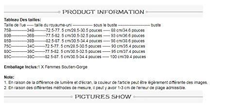 UKKD BHS für Damen, gestreift, spitz, B C, Push-Up-Pad, Draht Unterwäsche, BH, Bralette Intim-Reißverschluss vorne Gr. 85B, LT - 2