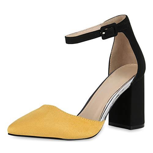 SCARPE VITA Damen Spitze Pumps Chunky High Heels Blockabsatz Party Schuhe 174791 Gelb 39 Schuhe Chunky Heel