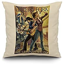 Leiper's Fork, Tennessee - Country Band (18x18 Spun Polyester Pillow Case, White Border)