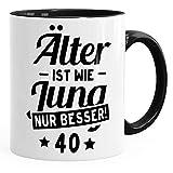MoonWorks Kaffee-Tasse Runder Geburtstag Alter Älter ist Wie Jung Nur Besser 30, 40, 50, 60, 65, 70, 75 Oder 80 Jährigen Fun-Shirt 40 Schwarz Unisize