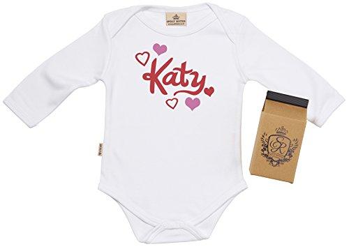 SR - Milchtüte Geschenkbox - Individualisierter Name & Hearts Baby-Strampler - Strampelanzug - Individualisierter Baby Geschenkset, Weiß - 0-6 Monate (Strampelanzug Name)