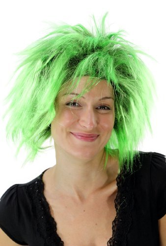 Perruque noire/verte, style Punk, 80's, glamour, idéal pour Carneval PW0078-P103PC15(A421)