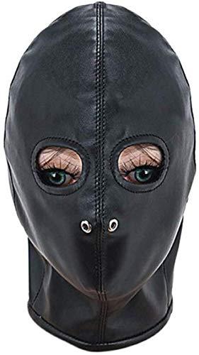 QWERDD Schwarze Ledermaske Offene Augen Gesicht Abdeckung Blindfold Masken-Halloween-Kostüm Hood Kopfbedeckung (Halloween-kostüme 2019 Für Paare)
