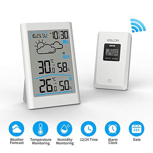 Ray Cue Station météo sans Fil, Radio météo numérique avec sonde extérieure, thermomètre...