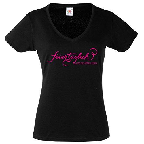Shirt feier täglich DAS SCHÖNE LEBEN- Lustiges V Neck Damen T-Shirt Schwarz-Neonpink