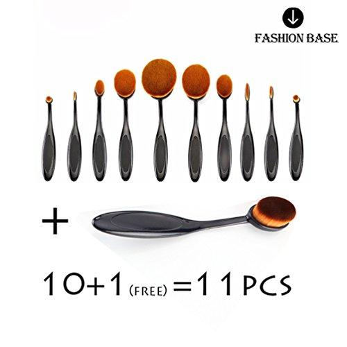 Fashion Base® Nouvelle Professional 11 pcs/Ensemble de brosse à dents Forme ovale Lot de brosse de maquillage professionnel Fond de teint poudre Brosse Kits (10 avec gratuit One)