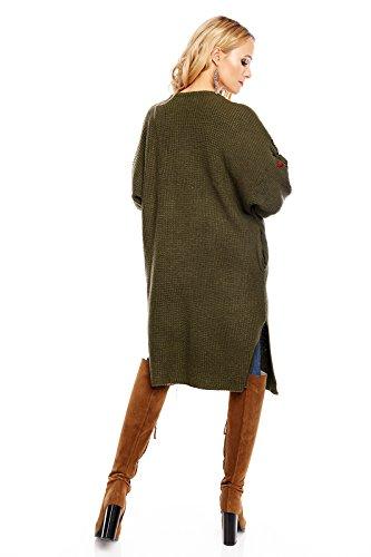 LUIZACCO Damen Strickjacke mit aufwendiger Stickerei, ein langer Strickmantel in vielen Farben erhältlich, Gr. 34-38 Olivgrün