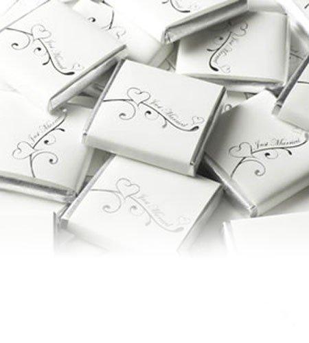 250g 50St Schokoladentafeln EinsSein® Verliebt weiß-silber Gastgeschenke Hochzeit Hochzeitsmandeln Hochzeit Schokolade