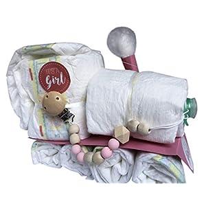 Windeltorte/Windelgeschenk/Windelzug Mädchen Baby SCHNULLER + SCHNULLERKETTE -> Niedliche Baby Kleinkind + tolles WINDELGESCHENK zur Geburt -> babyshower geschenk (Zug rosa Gr. 3)