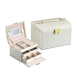 7d10aa8b8b16 Caja de la joyería de cajón de tres capas con cerradura y espejo  Organizador de joyería de viaje con cerradura regalo del gabinete para las  mujeres