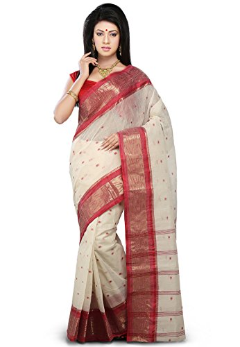 f171e2a02f Utsav fashion spn2569 Womens Off White And Red Cotton Bengal Handloom Tant  Saree With Blouse- Price in India