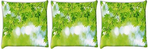 Snoogg foglie verdi albero confezione da 3federe per cuscino con stampa digitale 55,9x 55,9cm