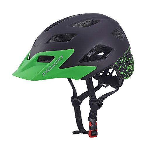 Exclusky Casco da Bicicletta Bambini Regolabile 50-57cm (età 5-13) (nero)