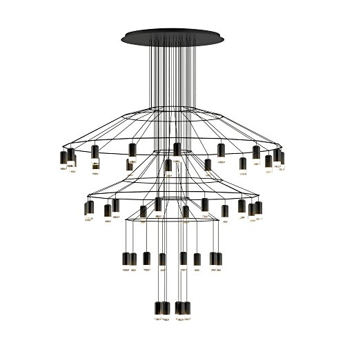 Vibia wireflow Chandelier 0377 Suspension LED, noir RAL 9005 laqué Push cri > 80 2700 K 20591 lm Dali 1-10 V 50-60 Hz H 194 cm Ø 150 cm