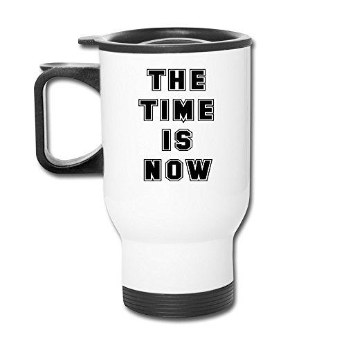 Tea Time Aluminum White Travel Mug, 12 Ounces