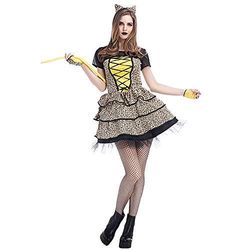 (Zhongsufei Perfekt für Halloween, Katze Spielen Kleine Geparden Leoparden Katzen europäischen und Amerikanischen Halloween Kostüme Party Kostüme Maskerade Kleid)