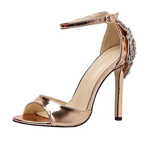 Damen Sandalen,Sannysis Mode Luxus Diamant High Heel Damen Sandalen Party Hochzeit Heels Schuhe Böhmen Pumps Peep Toe Stiletto Plateau Absatz Lackleder (37, Gold) Floral Peep-toe-heels