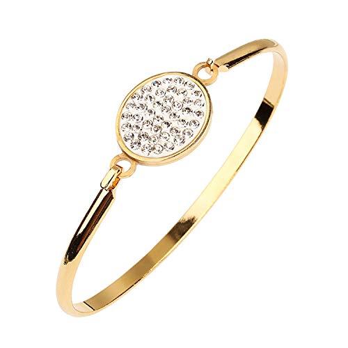Unique Life Fashion Edelstahl-Armreifen, Goldfarbene Kristalle, Strasssteine, für Damen, Schmuck - Clip Rosenkranz