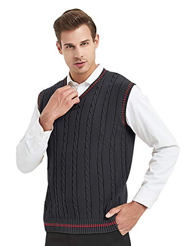 TopTie Cable algodón cuello V Tejido Suéter Hombres