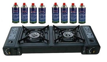PORTABLE OUTDOOR DOUBLE GAS STOVE DUAL 2 BURNER CAMPING COOKER 8 GAS REFILLS