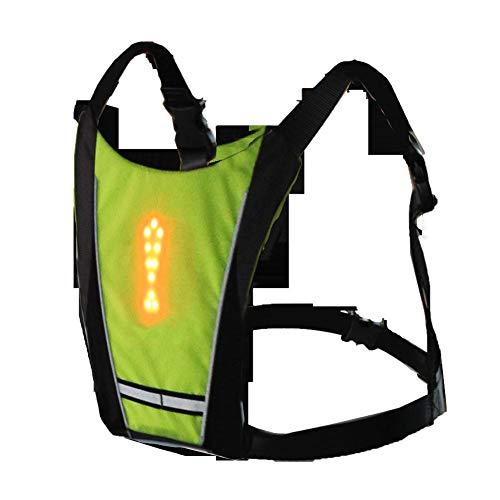 YHLU LED Drahtlose Radfahren Weste 20L MTB Fahrrad Tasche Sicherheit LED Blinker Licht Weste Fahrrad Reflektierende Warnwesten mit,Green -