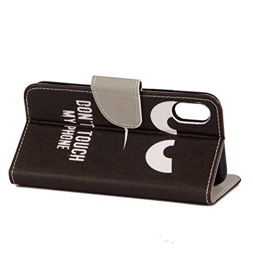 iPhone X Hülle iPhone X Case WYSTORE Bunte Muster PU Leder Bookstyle HandyHülle Tasche Flip Wallet Case Anti-Scratch Shell Cash Pouch ID Card Slot Folio Hüllen Schale SchutzHüllen für iPhone X - A04 G A02