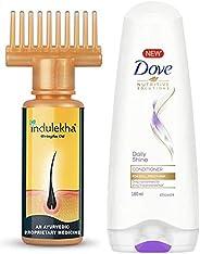 Indulekha Bhringa Hair Oil, 100ml & Dove Daily Shine Conditioner, 180ml