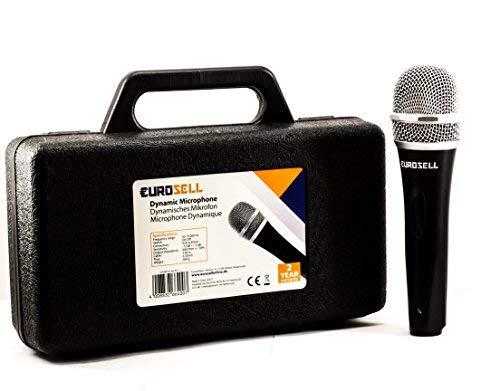 Eurosell, set di microfono dinamico per canto e palcoscenico, con custodia, cavo da 5 m, jack XRL