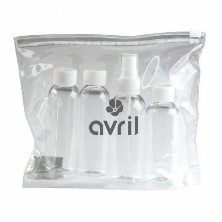 AVRIL - Flache Kulturtasche + 4 Flaschen zum ausfüllen - 1 80 ml und 3 50 ml - Transparente Kunststoffhülle mit Reißverschluss - Erlaubt in Flugzeugen