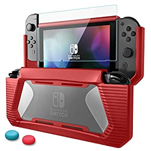 Nintendo Switch Tasche, AISITIN Nintendo Switch Case, Premium gehärtetes Glas Displayschutzfolie TPU Schutzhülle aus strapazierfähigem Gummi, Nintendo Switch Hülle