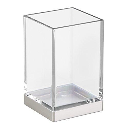 InterDesign 41180EU Clarity Glasbecher für das Bad - Durchsichtig/Gebürstet Plastik 6,35 x 6,35 x 10,16 cm